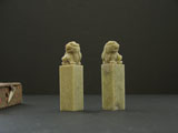 "1"" 2x Shoushan Soapstones with Lion Knobs #24"