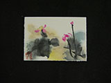 ACEO-F0497 Lotus with Three Primary Colors