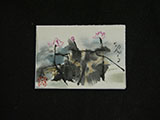 ACEO-F0500 Outline Pink Lotus with Pouring Ink Leaves