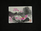 ACEO-F0498 Pink Lotus with Grey Ink Leaves