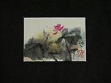 ACEO-F0501 Pink Lotus with Pouring Ink Leaves