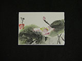 ACEO-F0499 Pink Lotus with Green Ink Leaves