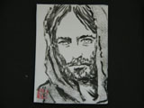 ACEO-P004 Jesus Portrait in Sumi Ink