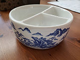 3 Well Blue and White Porcelain Brush Washer