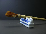 Collectible Rooster Feather Brush with Buddha Bamboo Handle