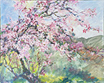 Blooming Cherry Plein Air Painting Acrylic on Canvas 24x30