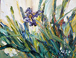 Iris Acrylic on Canvas Plein Air Painting 16x20