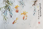 Three Goldfish with Wisteria(2021)