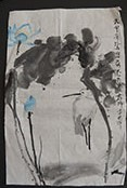 Gift Painting 106 Blue Lotus with White Heron
