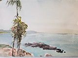 Seascape with Palms and Rocks 8 x 11.5
