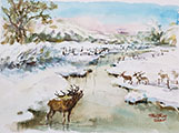 Snowy River Landscape with Reindeer (7x10)