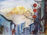 Cityscape with red lantern and snowy mountain 9x12