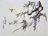 Matting Birds in the Spring with Wisteria(13.5x17.5)