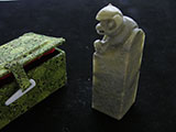 "1"" Qingtian Soapstone with Monkey Knob #09"