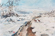 Snowy Landscape with Deer(2020)