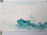 Gift Painting 125 Hand-painted Seascape 6x9 Card #1